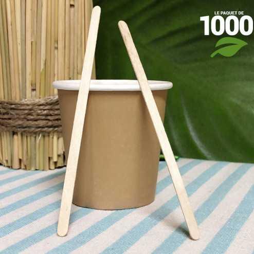 1000 Agitateurs Bois 11cm. Biodégradables