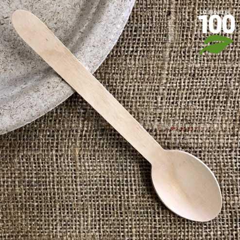 Grande cuillère bois biodégradable 16 cm. Par 100