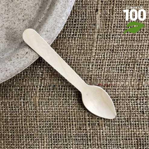 Petite cuillère bois biodégradable 11 cm. Par 100