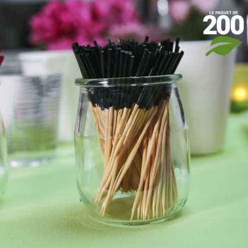Pic bambou noir 9cm verrines apéritives. Par 200