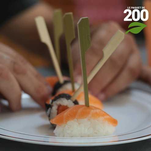 Pic bambou plat 9,5cm verrines apéritives. Par 200