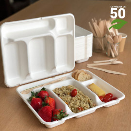 Plateau repas 5 cases Biodégradable compostable Par 50
