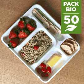 Pack 50 plateaux repas Bio + 50 gobelets gratuits
