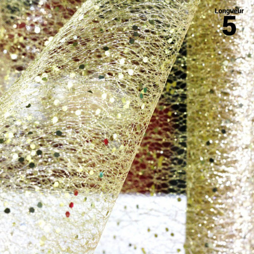 Chemins de table glitter pailleté Or. 5 mètres