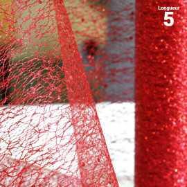 Chemins de table glitter pailleté Rouge. 5 mètres