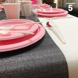 Chemins de table tissu anthracite 5 mètres