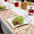 Chemin de table Lin et roses 5 mètres