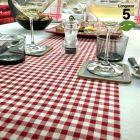 Chemins de table Vichy rouge en lin naturel