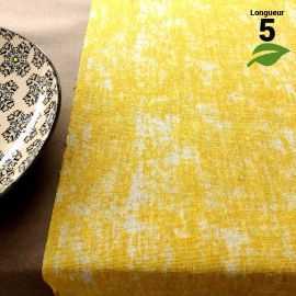 Chemin de table coton pastel jaune 5 mètres