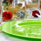Assiette ronde vert anis. Recyclable - Réutilisable. Par 12