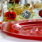 Assiette ronde rouge. Recyclable - Réutilisable. Par 12