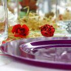 Assiette ronde prune pailleté. Recyclable - Réutilisable. Par 12