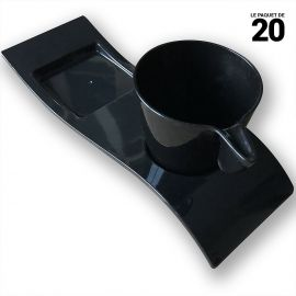 Tasse et sous-tasse noir. Recyclable. Réutilisable. Par 20