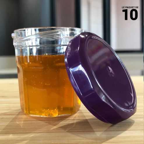 Verrine p'tite confiture aubergine. Recyclable. Réutilisable. Par 10