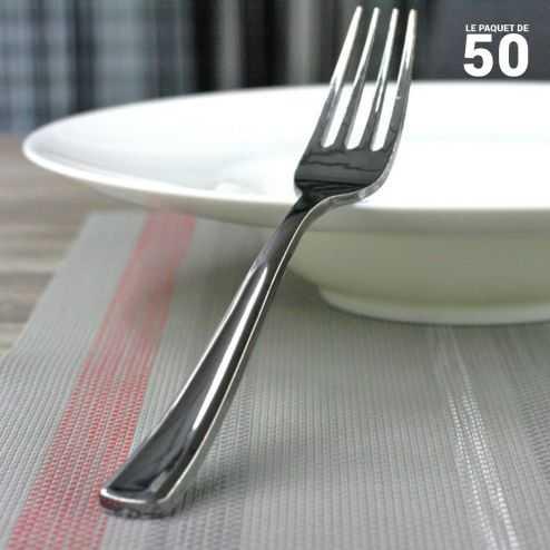 Fourchettes façon inox. Recyclables - réutilisables. Par 50