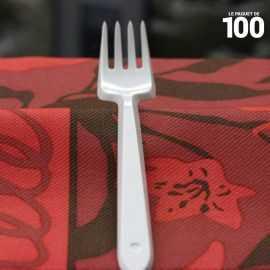 Fourchette en plastique blanc x 100.