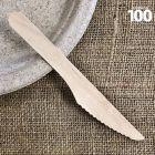 Couteau bois biodégradable 17 cm. Par 100