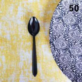 50 Cuillères dessert luxe noires. Lavables - Réutilisables