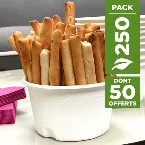 Pack 200 coupelles Bio hautes 32cl + 50 gratuites