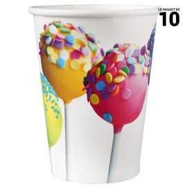 10 Gobelets carton 25 cl décor sucette et cupcakes