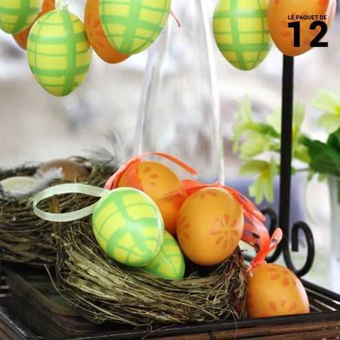 Oeufs décoration vert-jaune-Orange 4 cm