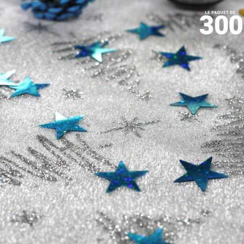 Confettis étoiles holographique bleues