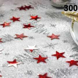 Confettis étoiles holographiques rouges