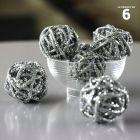 Mini-boules rotin argent 3 cm