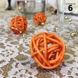 Boules rotin orange décoration 3 cm. Par 6