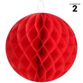 Boule décorative rouge en papier. Diamètre 30 cm.