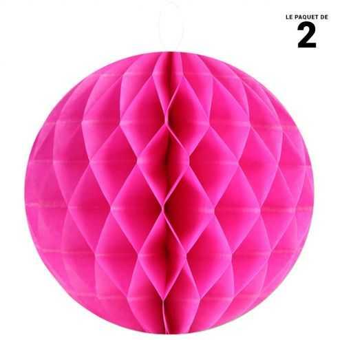 Boule décorative en papier fuschia 30 cm