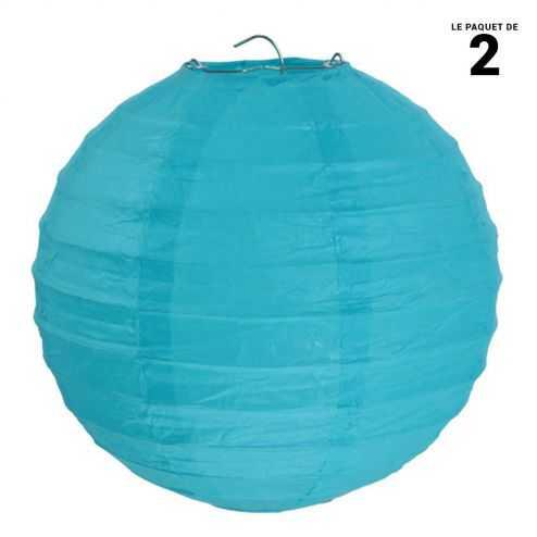 Lanterne en papier turquoise 30 cm