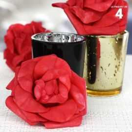 4 Roses mousse sur tige rouges 8 cm