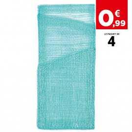 Pochette porte-couverts et serviette turquoise