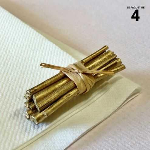 Mini-fagot bois or décoration 5 cm. Par 4