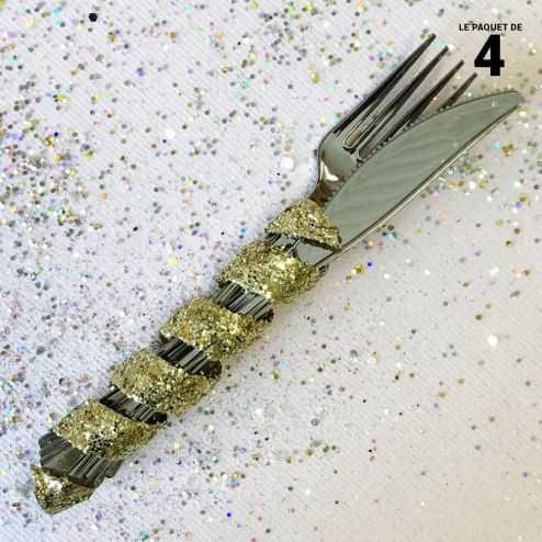 Tortillon pailleté or décoration 12 cm. Par 4