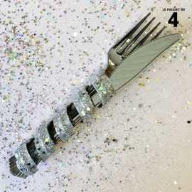 Tortillon pailleté argent décoration 12 cm. Par 4