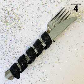 Tortillon pailleté noir décoration 12 cm. Par 4