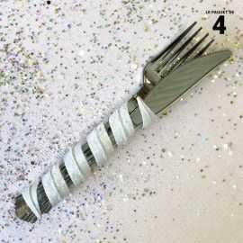 Tortillon pailleté blanc décoration 12 cm. Par 4