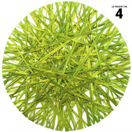 4 sets de table ronds verts. Raphia. 34 cm.