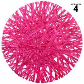 4 sets de table raphia ronds fuchsia 34 cm