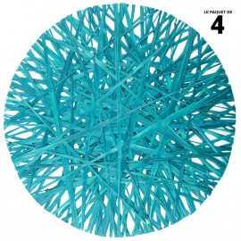 4 sets de table raphia ronds turquoise 34 cm