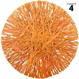 4 sets de tables ronds orange. Raphia. 34 cm.