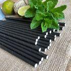 Pailles papier noires 20 cm Biodégradables. Par 25