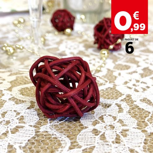 Boules rotin bordeaux décoration 3 cm. Par 6