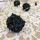 Boules rotin noir décoration 3 cm. Par 6