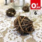 Boules décoration chocolat rotin naturel 3 cm. Par 6