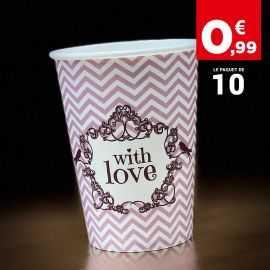 Gobelet décor Shabby rose carton 25 cl. Par 10.