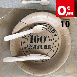 Assiette carton 100% Nature esprit kraft 23 cm