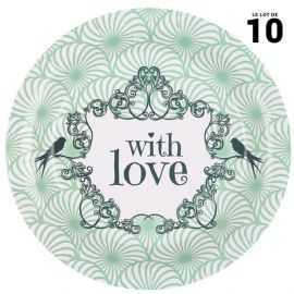 Assiette décor Shabby vert Carton 22 cm. Par 10